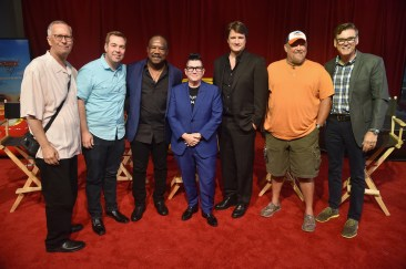 From L-R: Producer Kevin Reher, director Brian Fee, actors Isiah Whitlock Jr., Lea DeLaria, Nathan Fillion, Larry the Cable Guy, and Ray Evernham