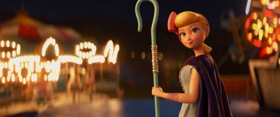 "LOST AND FOUND – In Disney and Pixar's ""Toy Story 4,"" Woody is reunited with his long-lost friend Bo Peep, who's been on the road for years. She's become an adventure-seeking free spirit whose strength and sarcasm belie her delicate porcelain exterior. Featuring the voice of Annie Potts as Bo Peep, ""Toy Story 4"" opens in U.S. theaters on June 21, 2019. ©2019 Disney/Pixar. All Rights Reserved."