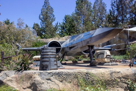 An X-Wing fighter on display on Batuu. Photo by Mark Eades.