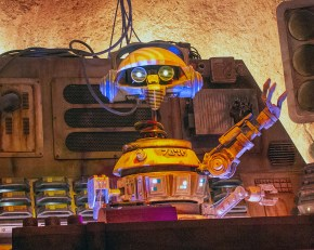 Deejay Rex, the former pilot on Star Tours. He spins up the music in Oag's Cantina. Photo by Mark Eades.