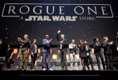 LONDON, ENGLAND - JULY 15: (L-R) Kiri Hart, Mads Mikkelsen, Kathleen Kennedy, Forest Whitaker, Alan Tudyk, Donnie Yen, Felicity Jones, Riz Ahmed, Diego Luna and Ben Mendelsohn on stage during the Rogue One Panel at the Star Wars Celebration 2016 at ExCel on July 15, 2016 in London, England. (Photo by Ben A. Pruchnie/Getty Images for Walt Disney Studios) *** Local Caption *** Kiri Hart; Gareth Edwards; Kathleen Kennedy; Forest Whitaker; Mads Mikkelsen; Alan Tudyk; Donnie Yen; Felicity Jones; Riz Ahmed; Diego Luna; Ben Mendelsohn
