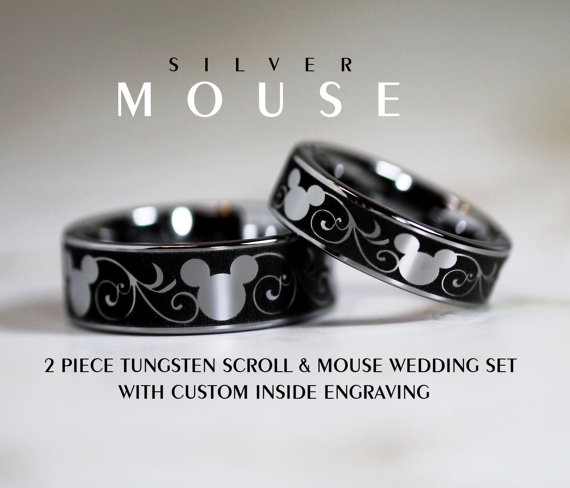 Mickey Scroll Tungsten Bands Add That Disney Element To Your Wedding