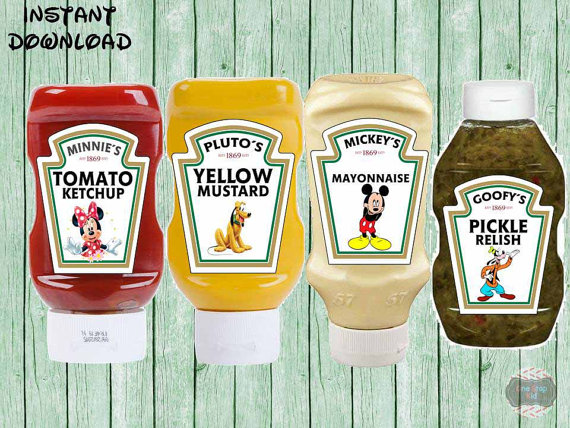 Mickey Mouse Condiment Labels