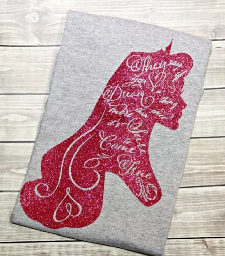 "This sparkly shirt features one of my favorite lines from Sleeping Beauty. ""They  say if you dream a thing more than once 1b8a3538581"