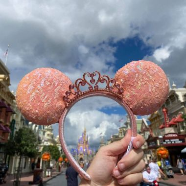 Peach Princess Minnie Ears