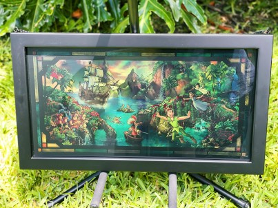 Peter Pan's Neverland painting on stained glass