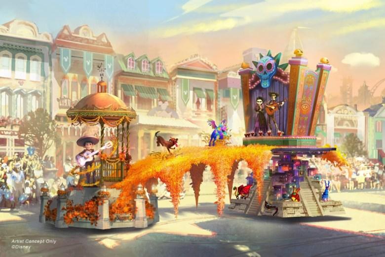 Diseño artístico de carroza de Coco en Disneylandia