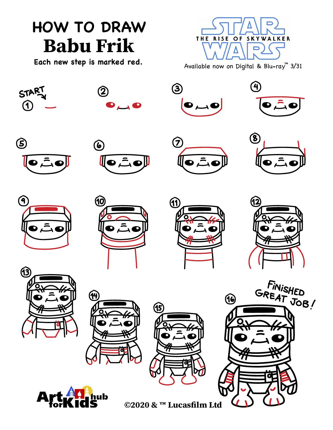 como dibujar Babu Frik paso a paso