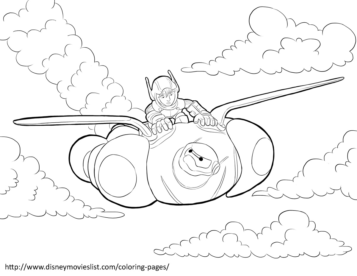 Hiro and baymax in flight big hero 6 coloring pages
