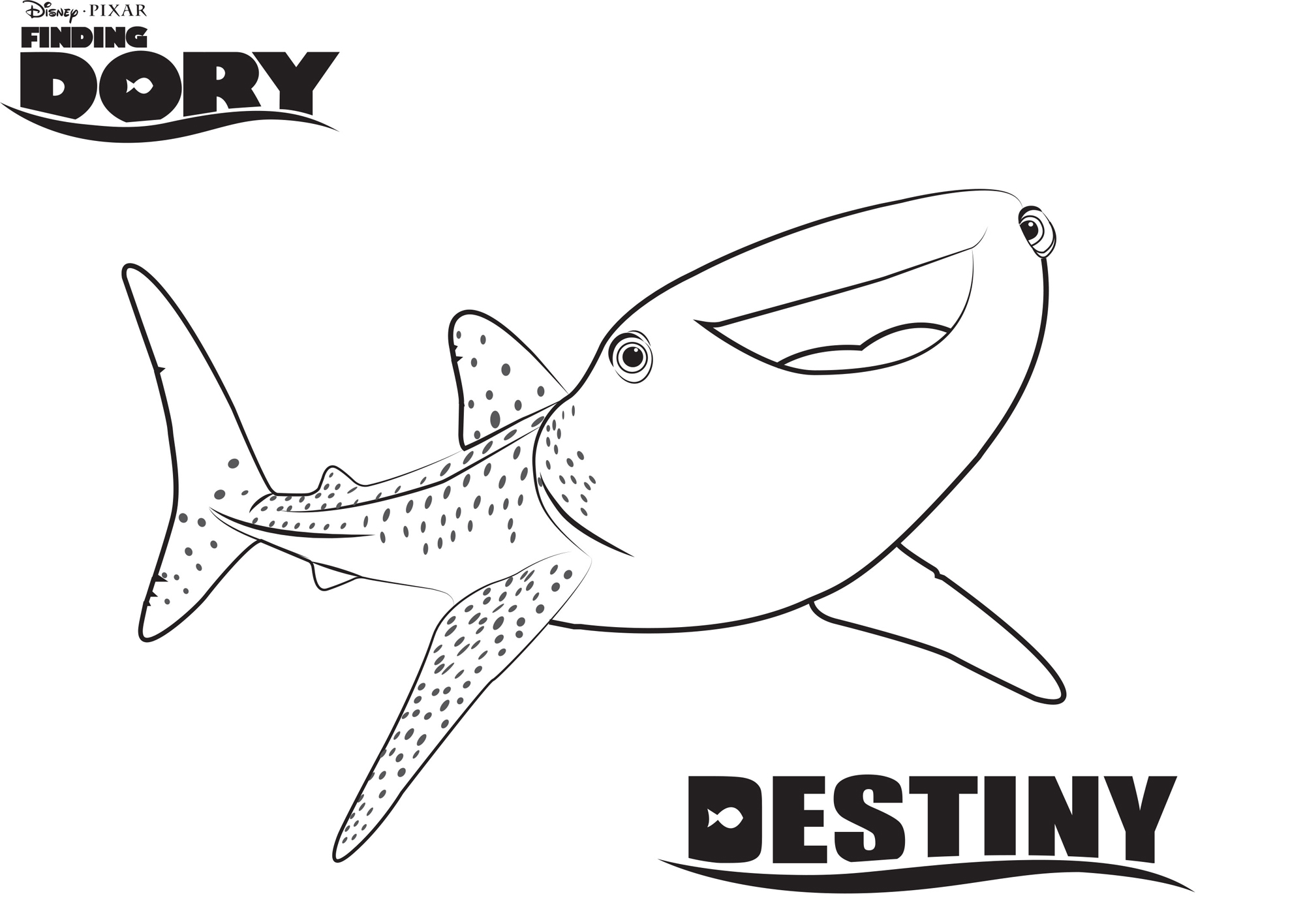 Destiny Finding Dory Coloring Pages Disney Movies List