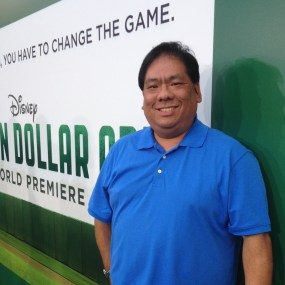 "Walking the ""green"" carpet at the Million Dollar Arm premiere"