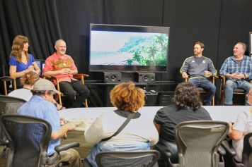 MOANA - (L-R) Jessica Julius (Senior Creative Executive), Ian Gooding (Production Designer), Andy Harkness (Art Director, Environment & Color) and Adolph Lusinsky (Director of Cinematography, Lighting) present at the Moana Long Lead Press Day on July 27, 2016 at Walt Disney Animation Studios - Tujunga Campus in North Hollywood, CA. Photo by Alex Kang. © 2016 Disney. All Rights Reserved.