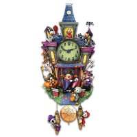 Disney Halloween Themed Cuckoo Clock with 9 Disney Characters, Lights and Music