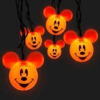 Disney Parks Mickey Mouse Orange Halloween Set of 10 Pumpkin String LIghts