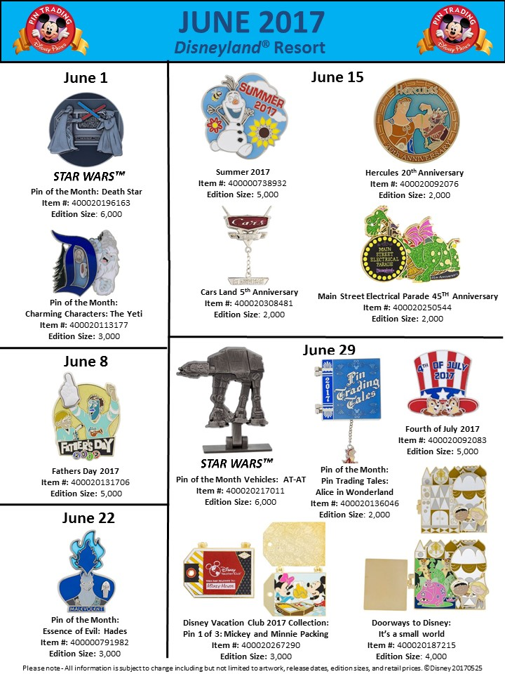 disney pins june 2017