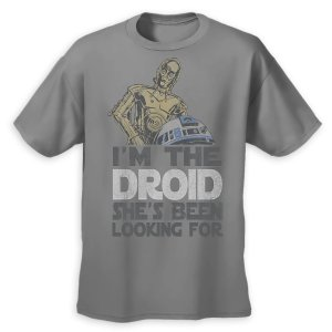 C-3PO and R2-D2 Valentine's Day T-Shirt for Adults - Gray