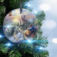 Disney Beauty and the Beast Glass Christmas Ornament