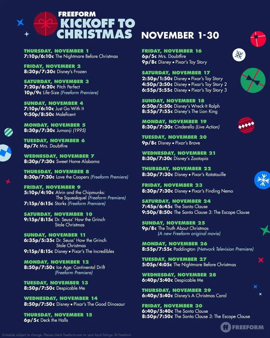 Freeform's Kickoff to Christmas Movie Schedule