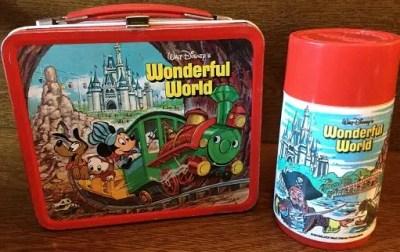 Walt Disney Wonderful World Metal Lunchbox and Thermos – 1980