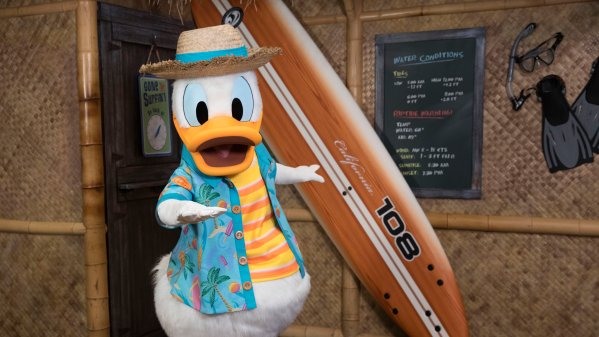 Donald Duck greets guests at his Seaside Breakfast at PCH Grill