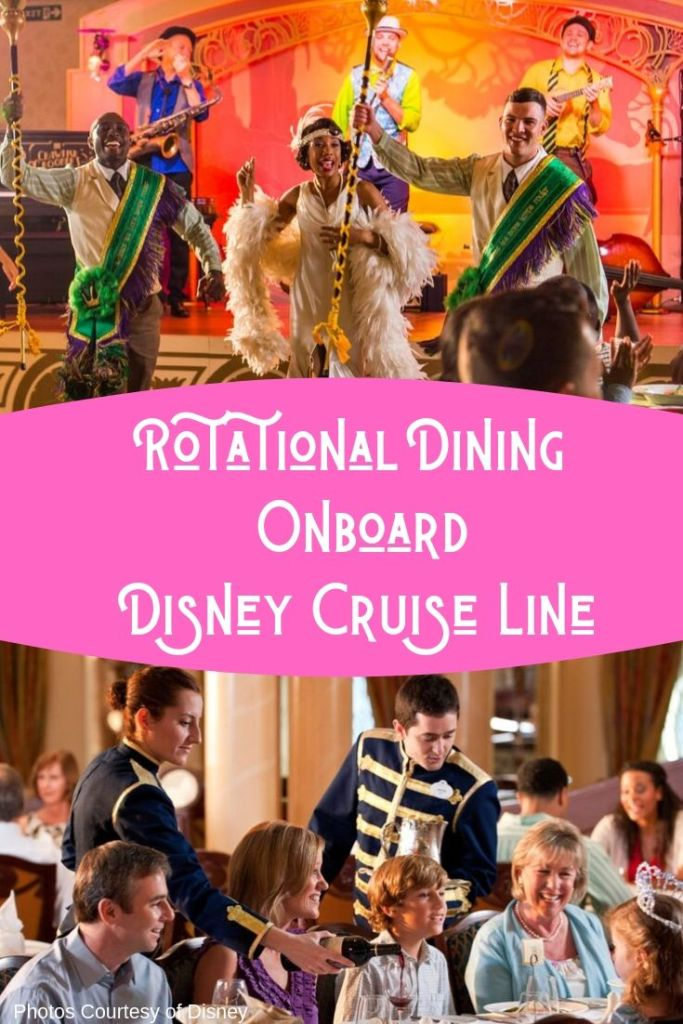 Rotational Dining on Disney Cruise Line is unique in the cruise industry! Guests get s chance to enjoy a different dining experience each night. Learn more on Disney Park Princess! #disneycruise #disneycruisedining #rotationaldining