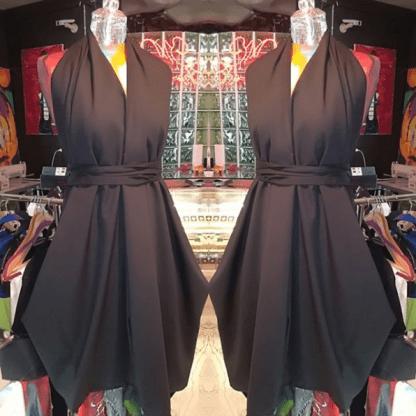 DISORDER BLACK HALTER NECK DRESS
