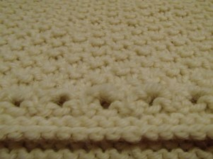White Chocolate Hand Knit Capelet, detail of eyelet lace