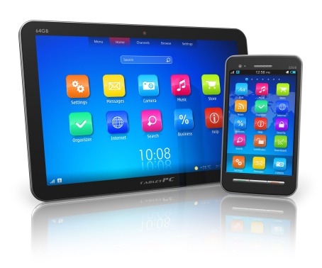 Picture of Tablet PC and touchscreen smartphone, both of which can be used for the Florida Injury Application