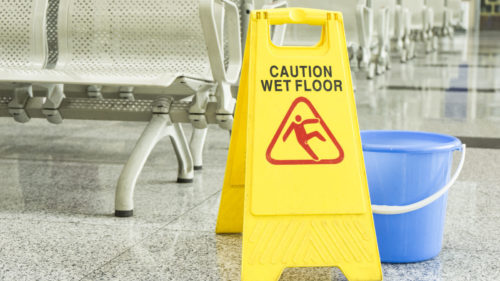 cleaning progress caution sign in airport