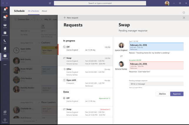Managing shift requests in Microsoft Teams