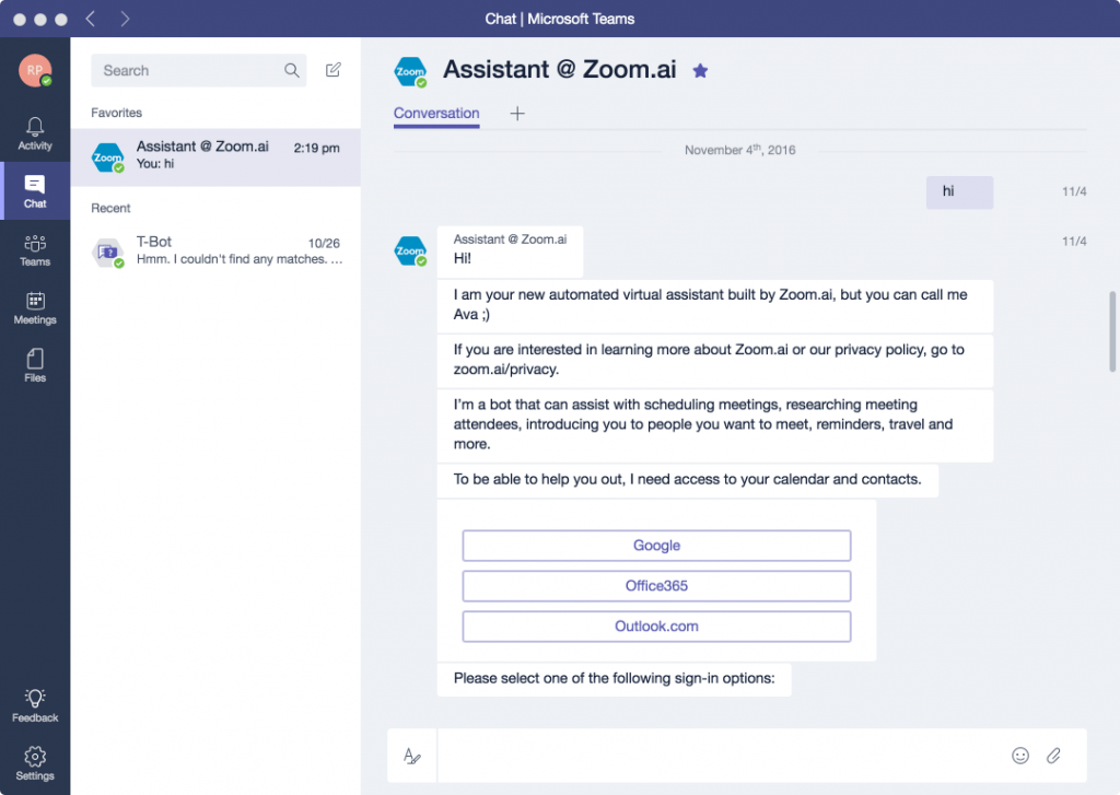 Zoom.ai Microsoft Teams integrations