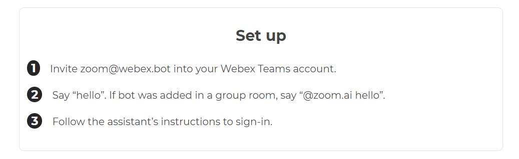 Zoom.ai Webex Teams integrations