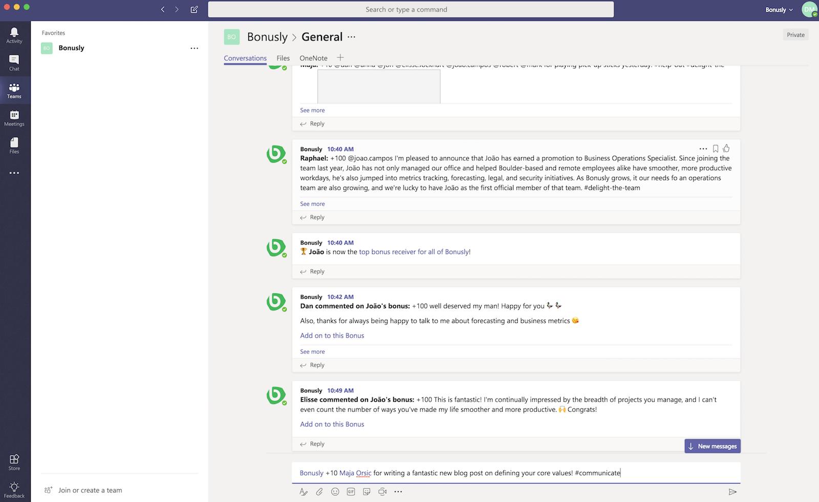 Bonusly Microsoft Teams integrations