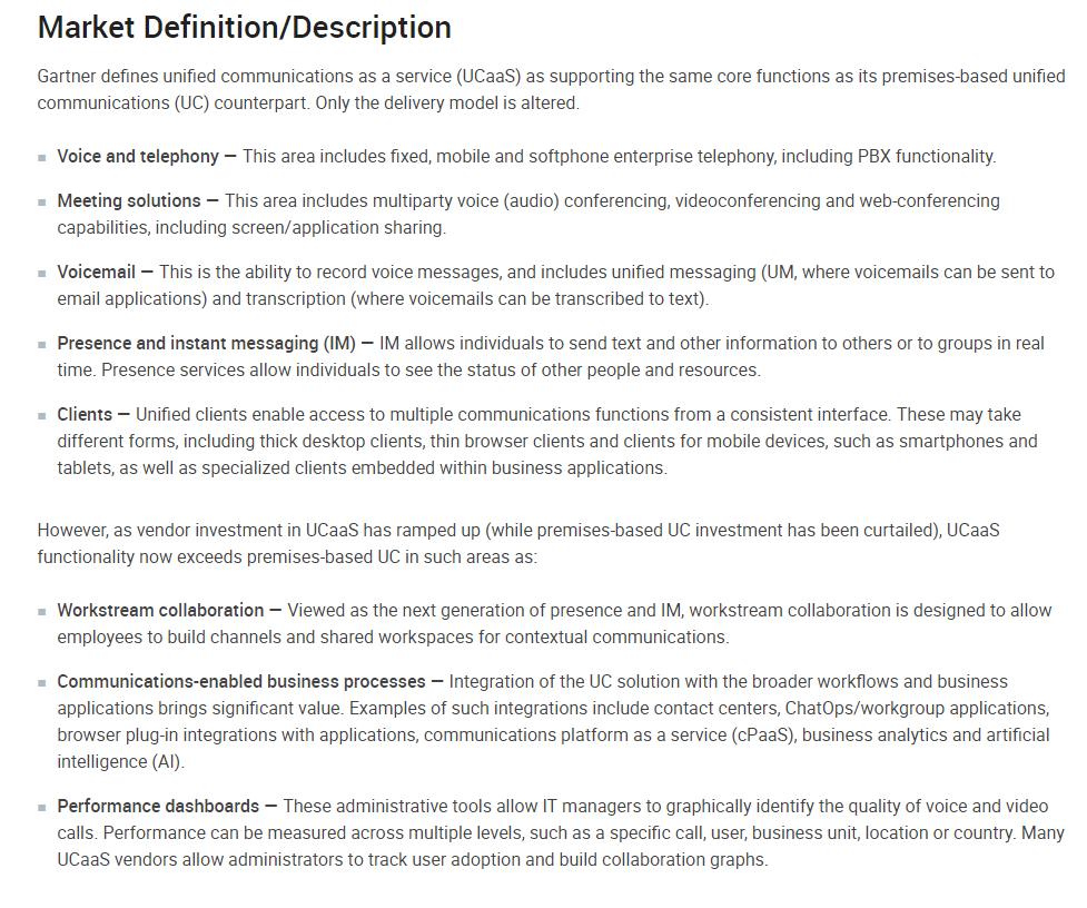 Gartner UCaaS definition