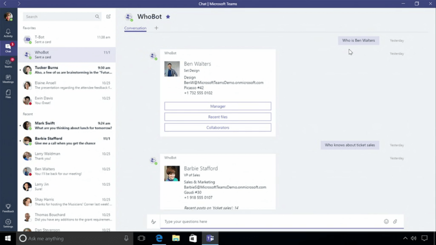 Whobot for Microsoft Teams