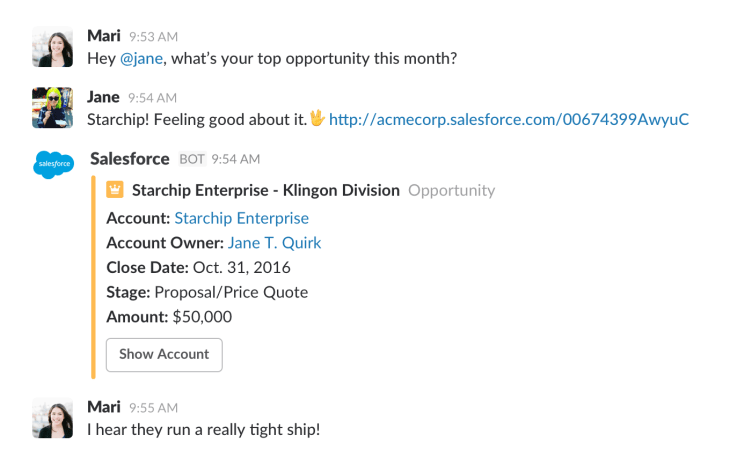 Salesforce in Slack