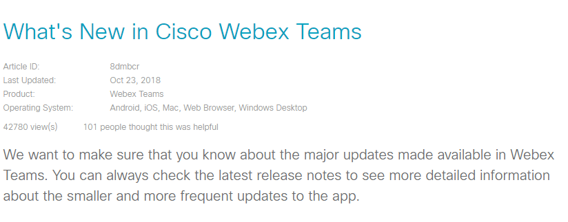 What's new in Cisco Webex Teams