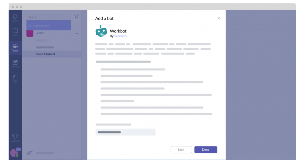 Workbot in Microsoft Teams