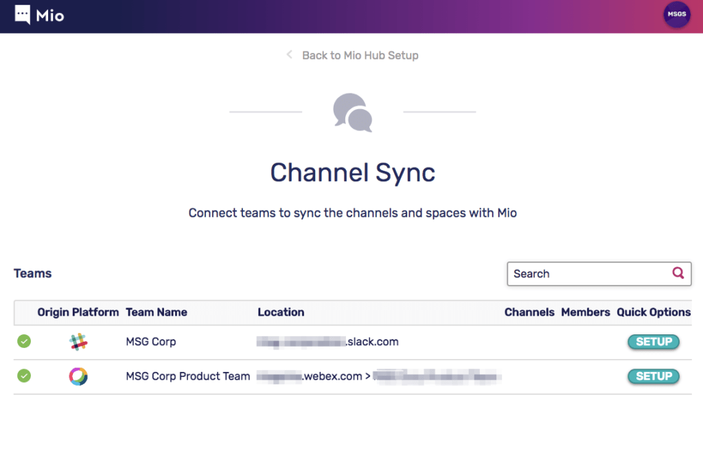 Channel Sync between Slack and Cisco Webex Teams