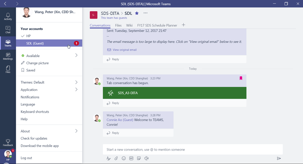 Switching between Microsoft Teams accounts