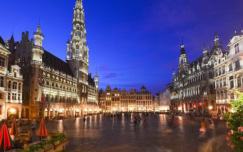 Majestic Brussels Grand Place illuminated at dusk, Belgium