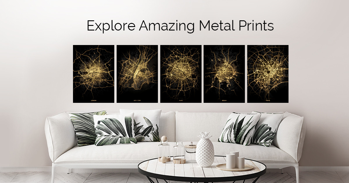 City Light Maps by Retina Creative | metal posters