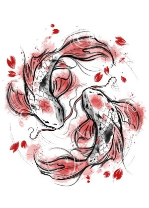 drawing cool koi fish inspired draw digital japanese displate ingrosso daisy