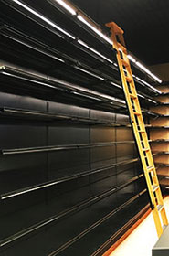 Liquor Store Shelving - Ladder & LED Lighting