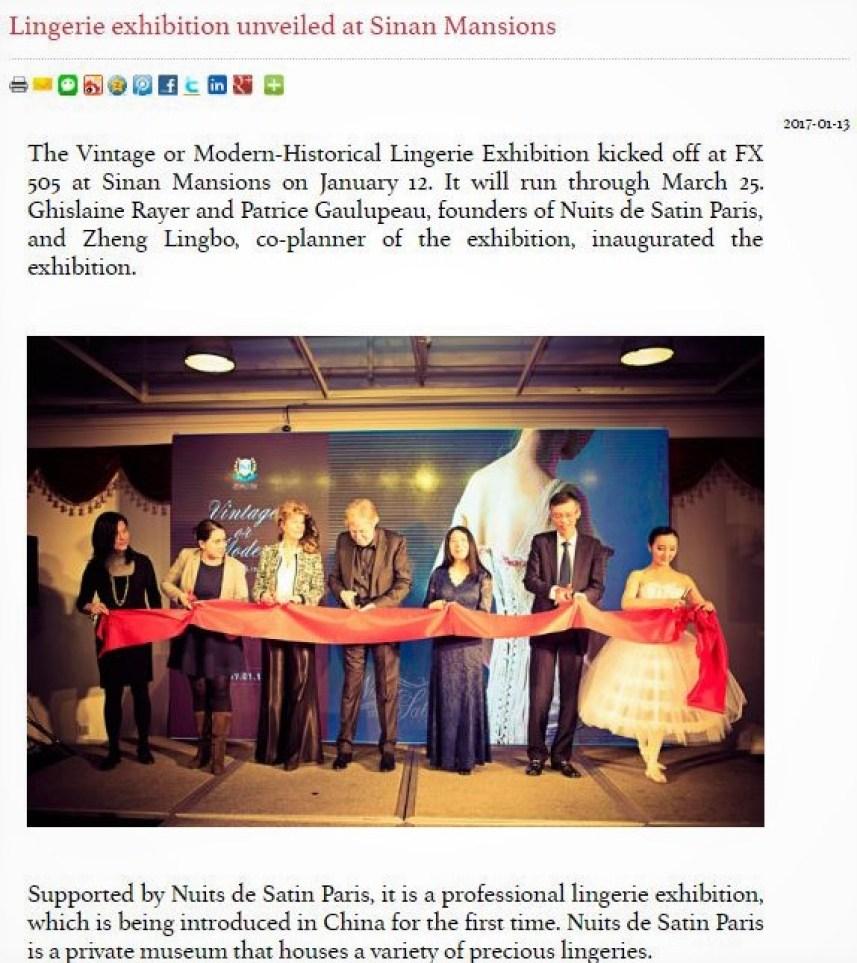 Exposition lingerie corset Shanghai Sinan Mansion