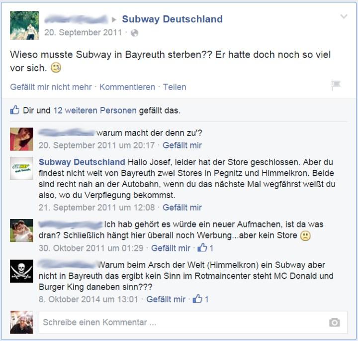 Fig. 03: Die Reaktionen diverser Bürger auf SDSIB (Schließung des Subways in Bayreuth)