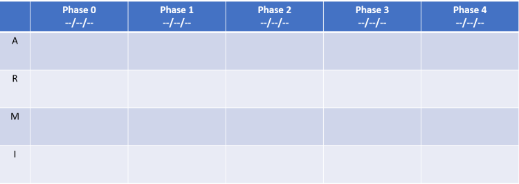 ARMI template to outline various phases of a project.  six by five grid with project phases along top row with A R M I listed in the first column