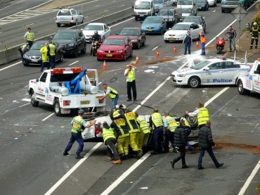 Police in a road accident scene