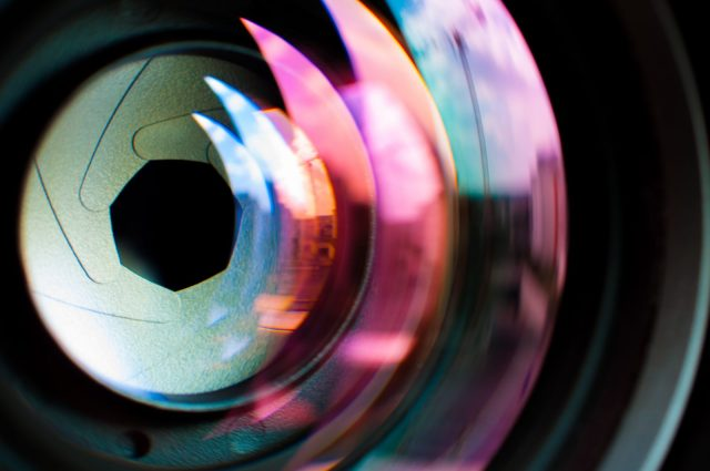 Colors refracted through camera lens