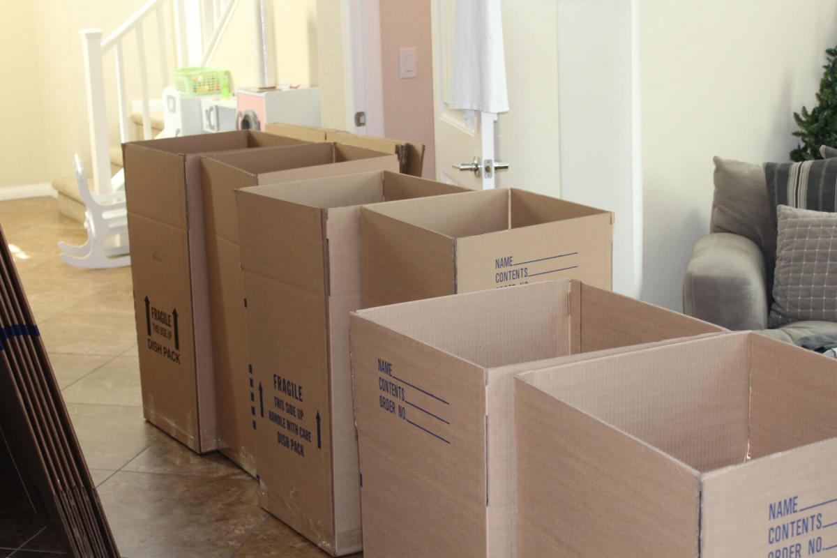 a row of open moving boxes